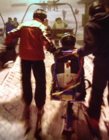 Carol hitting the slopes on her sit-ski