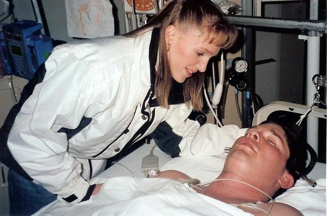 Nathan Ogden and his wife, Heather, at the hospital.