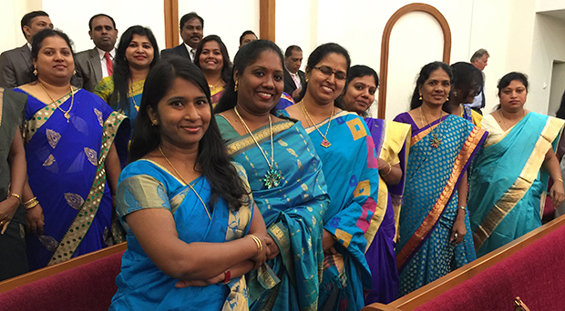 Indian members at the organization of the Bangalore India Stake