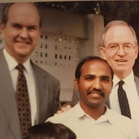 Brother Gill and then-Elder Russell M. Nelson on a visit to Pakistan