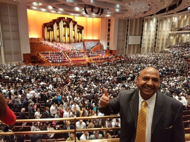 Brother Gill attending general conference for the first time at the Conference Center in Salt Lake City, Utah.