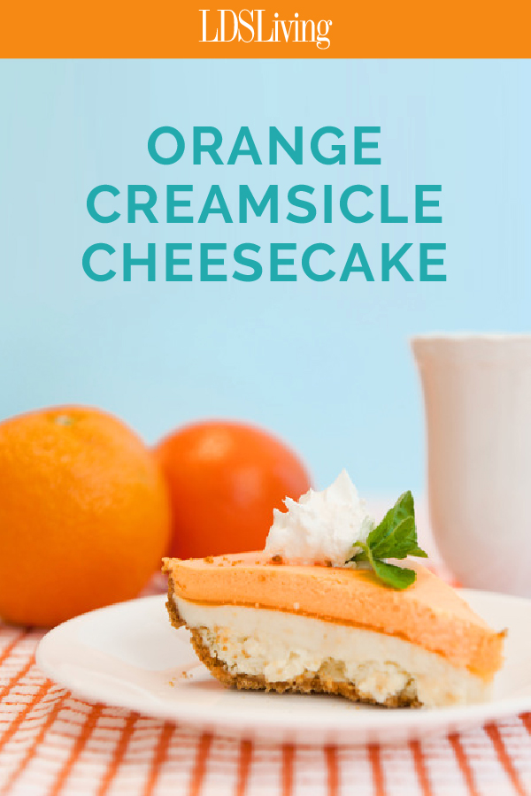 Can you believe this Orange Creamsicle Cheesecake is made with JELLO?!