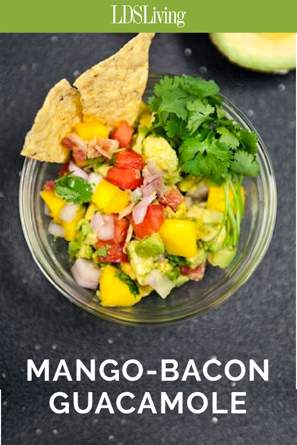 Mango Bacon Guacamole. I could eat a whole bowl of this right now!
