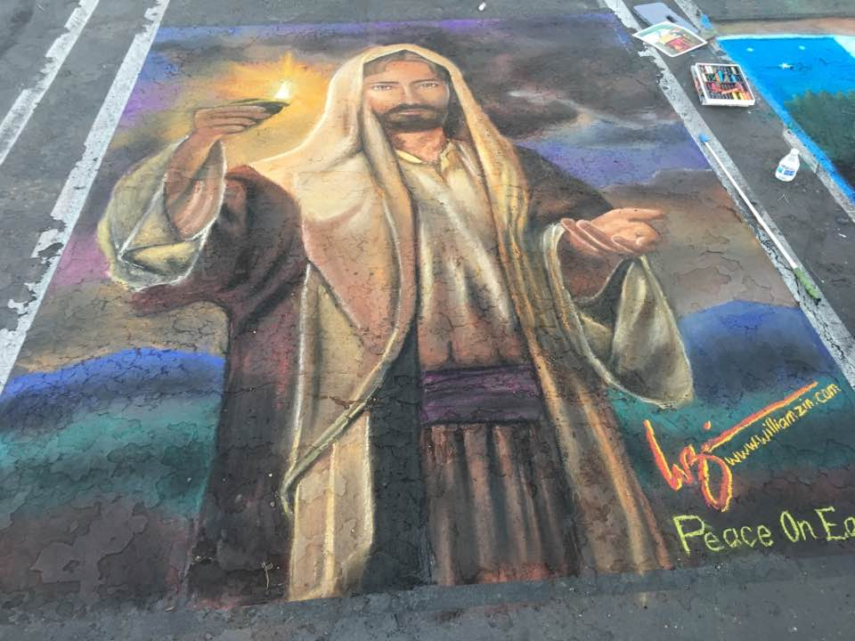 Christmas Chalk Walk Art by Willi Zin