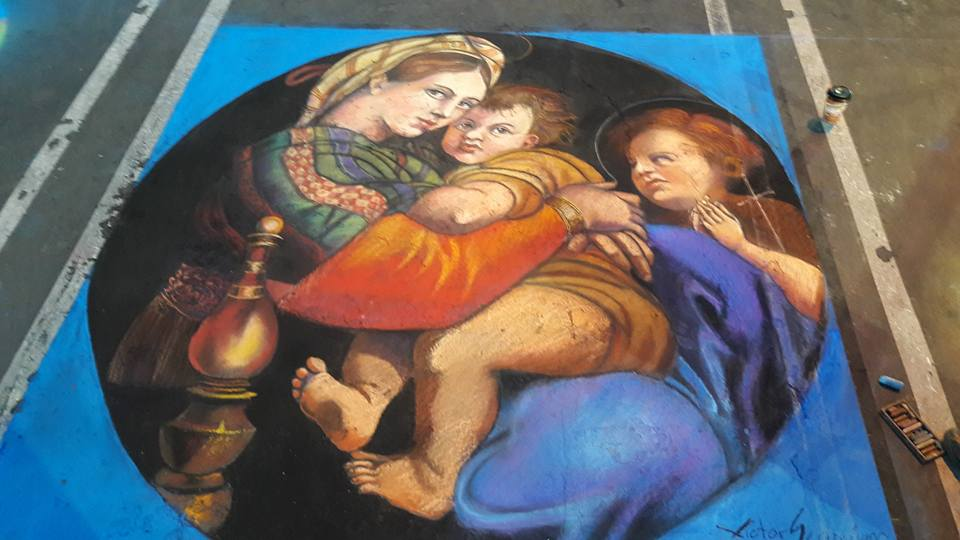 Christmas Chalk Walk Art by Victor Segoviano