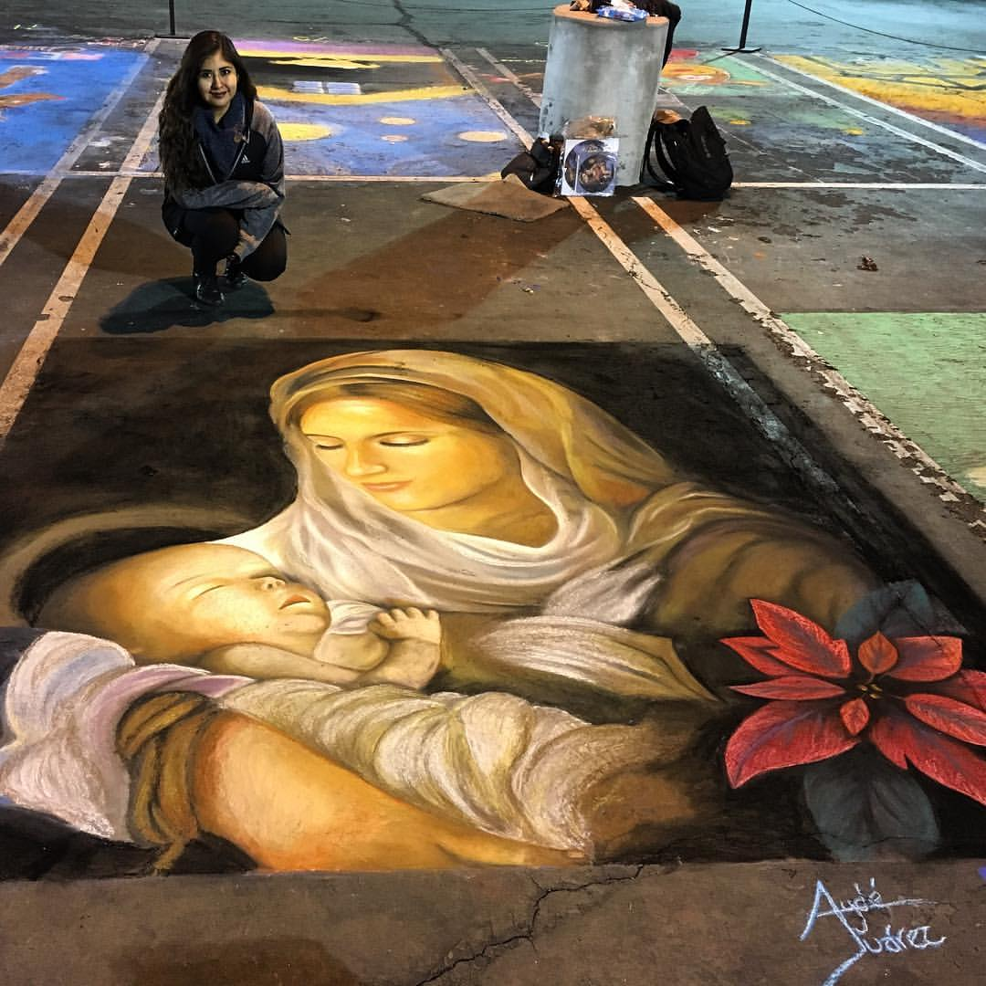 Christmas Chalk Walk Art by Ayde Juarez