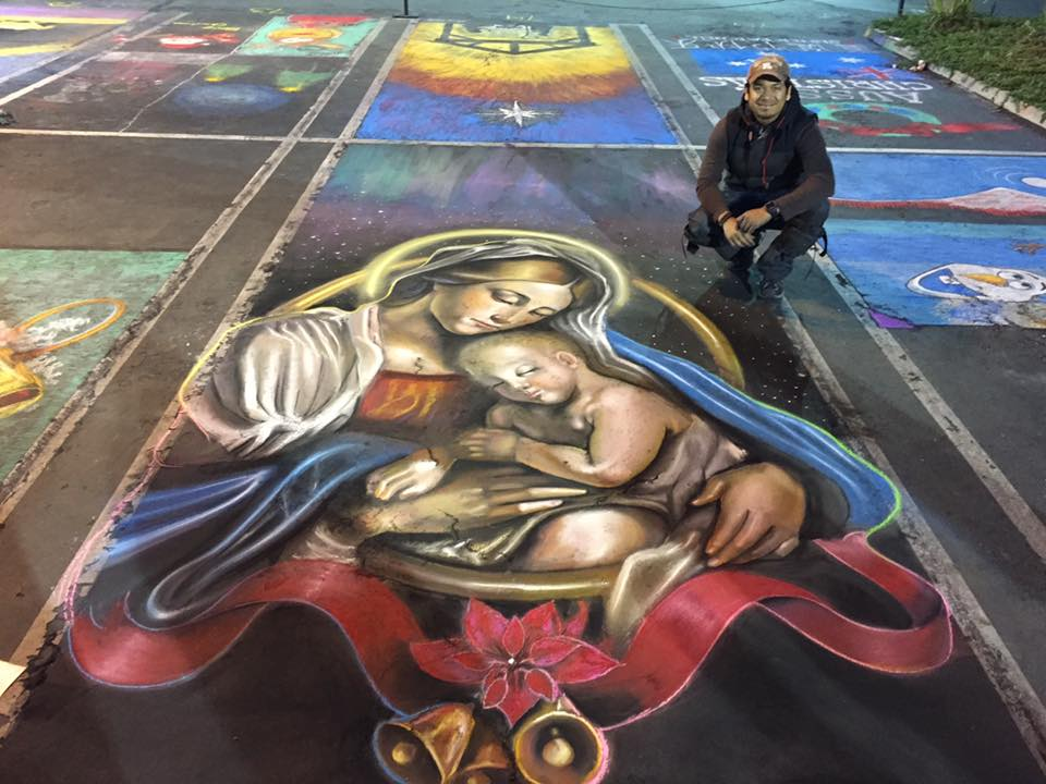 Christmas Chalk Walk Art by Ever Galvez