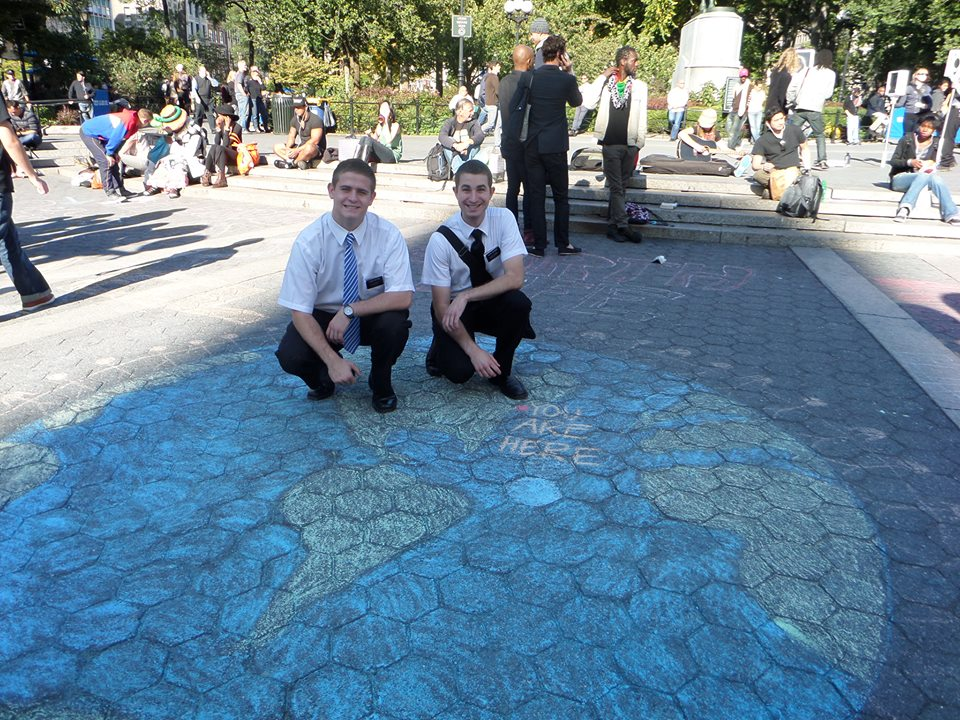 Missionaries with Mormon Chalk Art in New York