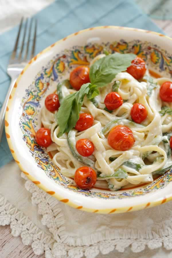 Zucchini Ribbons and Pasta with Creamy Lemon-Basil Sauce